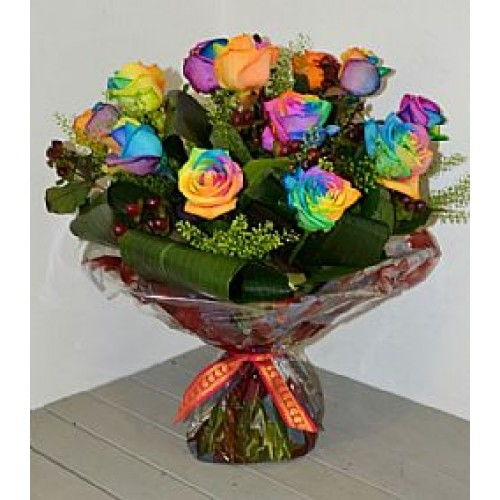 Rainbow Rose Hand tied Bouquet
